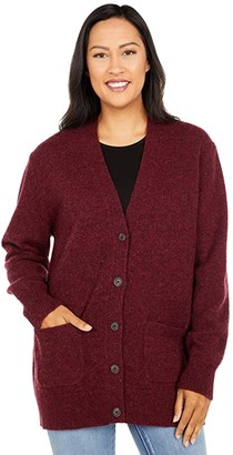 Pendleton Boyfriend Shetland Cardigan (Cabernet Heather) Women's Sweater