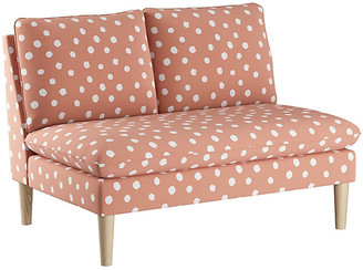 One Kings Lane Bacall Kids' Settee - Coral/White Linen