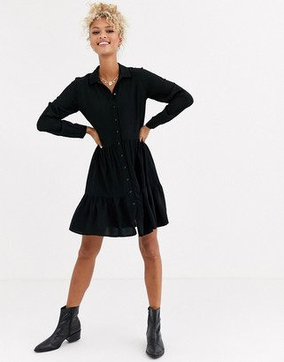 New Look tiered shirt dress in black
