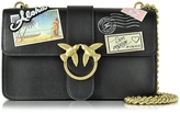 Pinko Love Souvenir Black Leather Shoulder Bag w/Golden Chain