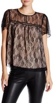 Socialite Short Sleeve Lace Woven Shirt