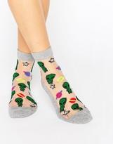 Asos Glitter Sheer Alien Ankle Socks