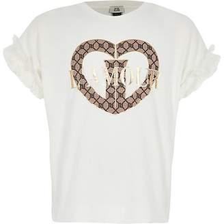 River Island Girls cream 'L'amour' frill sleeve T-shirt