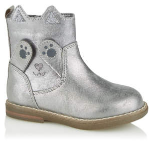 CAT George First Walkers Silver Peekaboo Ankle Boots