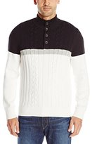 Nautica Men's Color Block Button Mock Sweater
