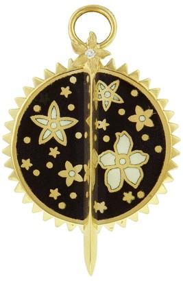 Foundrae Medium Dark Blossoms Thorn Resilience Yellow Gold Medallion