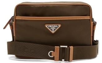 Prada Logo-plaque Leather-trimmed Nylon Messenger Bag - Brown