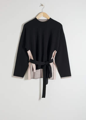 And other stories Cotton Blend Belted Sweater