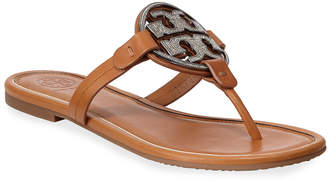 Tory Burch Miller Flat Crystal Logo Slide Sandals