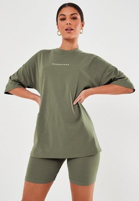 Missguided Slogan T Shirt And Cycling Shorts Co Ord Set