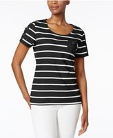 Karen Scott Striped Pocketed Active Top, Only at Macy's