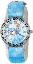 Disney Girl's 'Cinderella' Quartz Plastic and Nylon Automatic Watch, Color:Blue (Model: W002939)