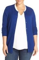 Sejour Crewneck Wool & Cashmere Cardigan (Plus Size)