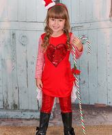 Red Crà ̈me Heart Ruffled Hi-Low Tunic - Toddler & Girls