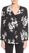 Vince Camuto Print Long Sleeve V-Neck Blouse (Petite)