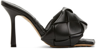 Bottega Veneta Black Intrecciato Lido Heeled Sandals