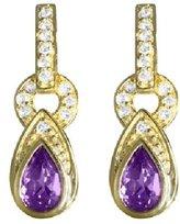 sendmyjewelry Sterling Silver/Vermeil Amethyst and White Topaz Dangle Earrings