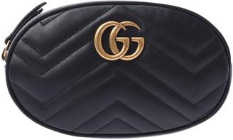 Gucci Black Leather GG Marmont Matelasse Belt Bag