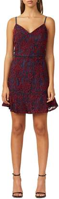 Adelyn Rae Lace Trim Two-Tone Fit--Flare Dress