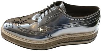 Prada Silver Leather Lace ups