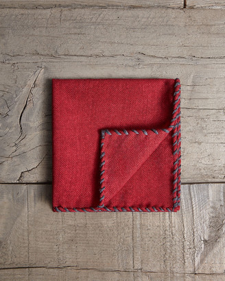 Brunello Cucinelli Men's Whipstitch Wool Pocket Square