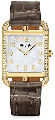 Hermes Cape Cod 29MM Diamond, 18K Yellow Gold & Alligator Strap Watch