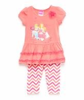 Children's Apparel Network Coral Disney Princess Tunic & Leggings - Girls