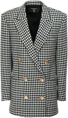 Balmain Houndstooth Boyfriend Jacket Mini Dress