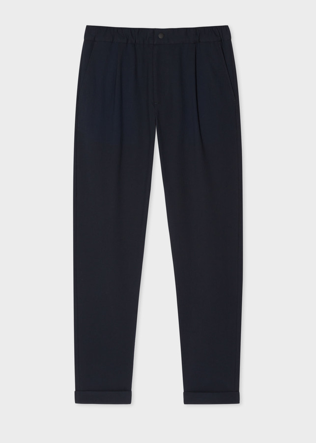 Paul Smith Men's Navy Cotton-Stretch Trousers With Elasticated Waist