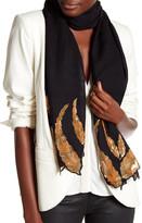 Saachi Black Sequins Feathers Border Merino Wool Wrap