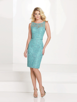 Social Occasions by Mon Cheri Social Occasions - Sleeveless Lace Illusion Bateau Neck Dress 115864
