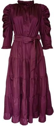 Lalipop Design Coton Poplin Burgundy Midi Dress