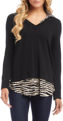 Karen Kane Layered V-Neck Sweater