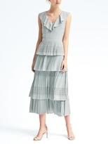 Banana Republic Laser-Cut Pleated Midi Dress