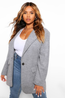boohoo Wool Look Single Button Coat