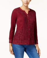 Style&Co. Style & Co Style & Co Petite Lace Button-Front Top, Created for Macy's