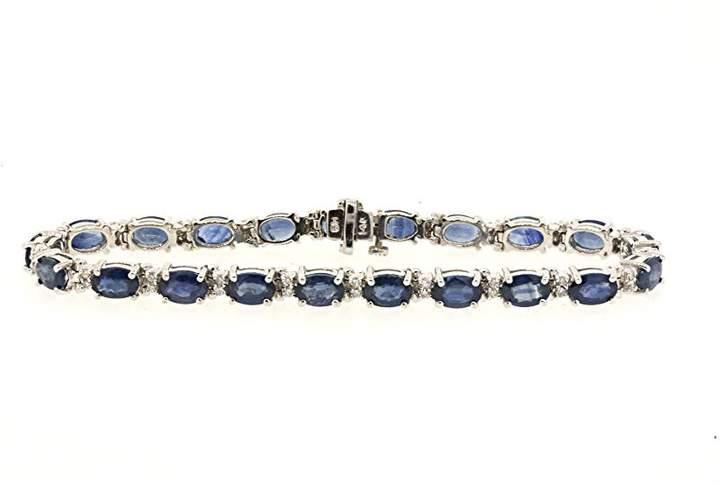 Effy 14K White Gold with Oval Blue Sapphire and DIamond Tennis Bracelet
