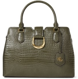 Lauren Ralph Lauren Croc Embossed Leather Medium City Satchel