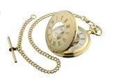 Jean Pierre gold-plated Half Hunter skeleton mechanical pocket watch