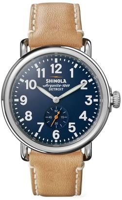 Shinola Runwell Stainless Steel & Leather Strap Watch
