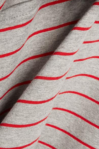 Opening Ceremony Asymmetric Layered Striped Stretch-Cotton Jersey Midi Dress