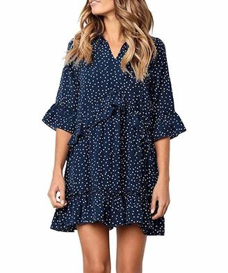 Ehpow Women Ruffles Dress V Neck Polka Dot Swing Mini T-Shirt Beach Dresses (X-Large