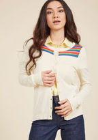 ModCloth Bolder at the Shoulders Striped Cardigan in Ivory in XXS