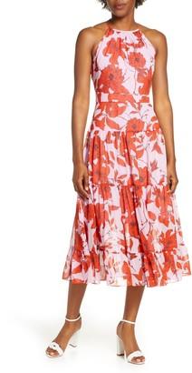 Brinker & Eliza Floral High Neck Tiered Chiffon Midi Dress