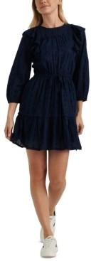 Lucky Brand Charlie Ruffled-Shoulder Mini Dress