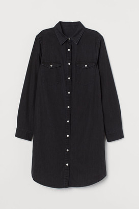 H&M Denim Shirt Dress - Black