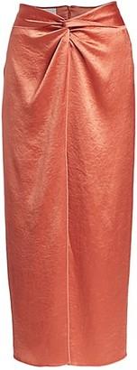 Nanushka Samara Washed Satin Midi Skirt