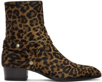 Saint Laurent Brown Pony Leopard Wyatt Boots