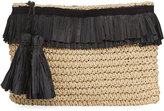San Diego Hat Company Crochet Paper Clutch with Fringe, Neutral Pattern
