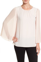 Vince Camuto Pleated Chiffon Sleeve Blouse (Petite)